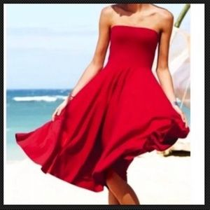 Victoria's Secret Strapless Navy Midi Dress